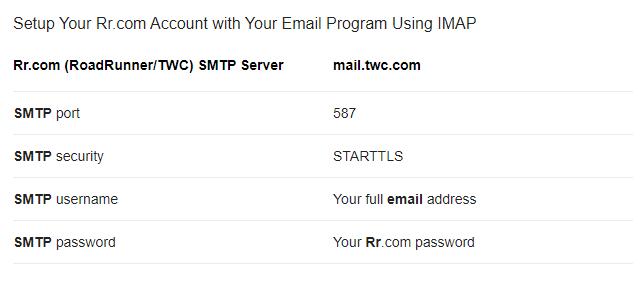 spectrum IMAP and SMTP